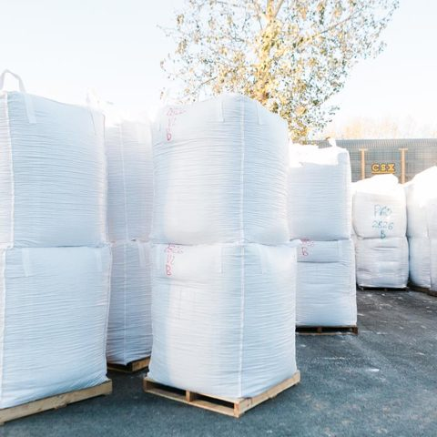 Large bags of perlite outside