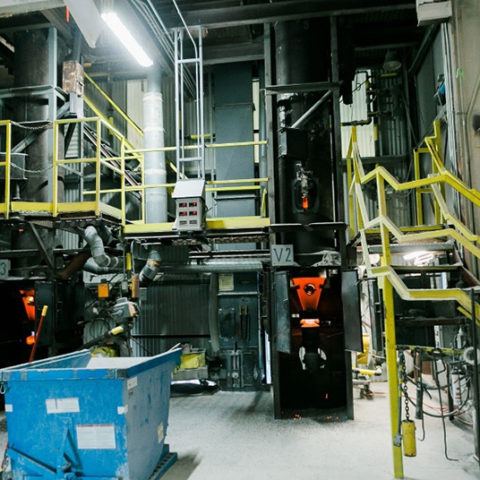 A look inside of the perlite factory