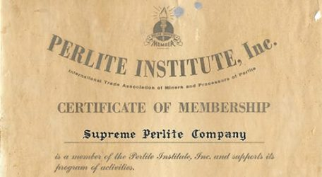 A Perlite Institute Certificate of Membership from 1954 Addressed to Supreme Perlite Company