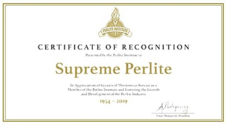 Supreme Perlite Certificate of Recognition from the Perlite Institute 1954-2019